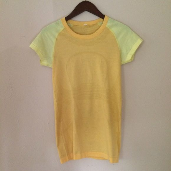 Lululemon Run Swiftly Tee Yellow & orange Run Swiftly from Lulu. Great condition. No pilling. Size tags are ripped out, but fits like an 8/10. lululemon athletica Tops Tees - Short Sleeve