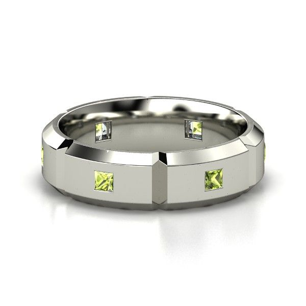 Men S Peridot Platinum Wedding Band This Would Be An Awesome Thumb Ring For Me As A Mother S Ring White Gold Rings Rings For Men Palladium Rings