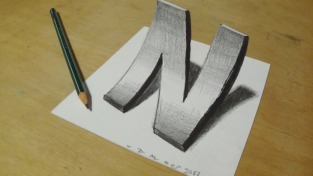 How to Draw 3D curved Letter N Trick Art With Graphite