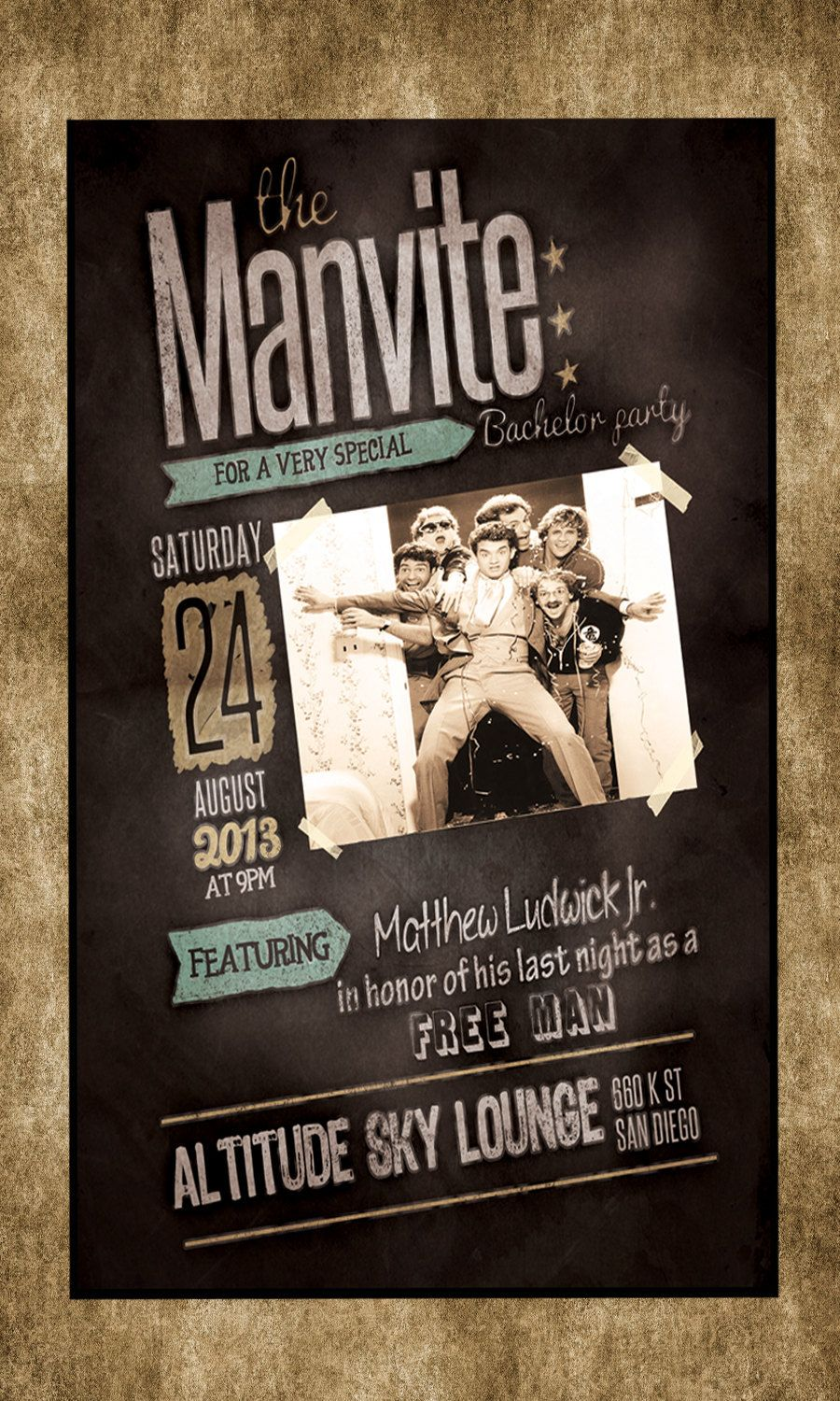Chalkboard Chalk Bachelor Birthday Party Manly Men Manvite Invite ...
