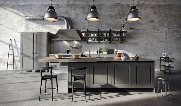 muebles de cocina de madera pintados en gris con lámparas vintage ...