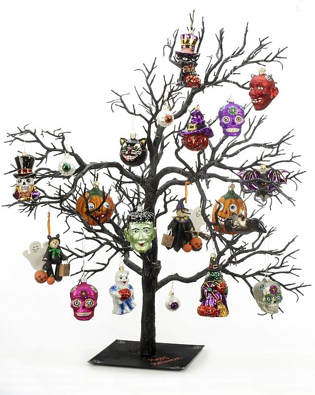 Great Idea For Creating An Indoor Haunting Scene In Your Home Get A Black Twig Tree T Halloween Ornaments Halloween Christmas Tree Christmas Tree Inspiration