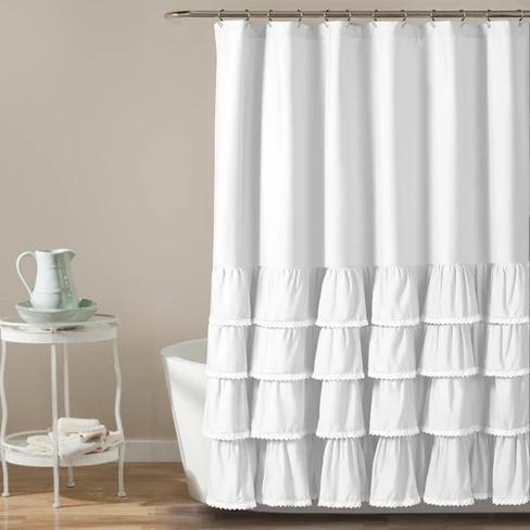 72 X72 Ella Lace Ruffle Shower Curtain Lush Decor Target