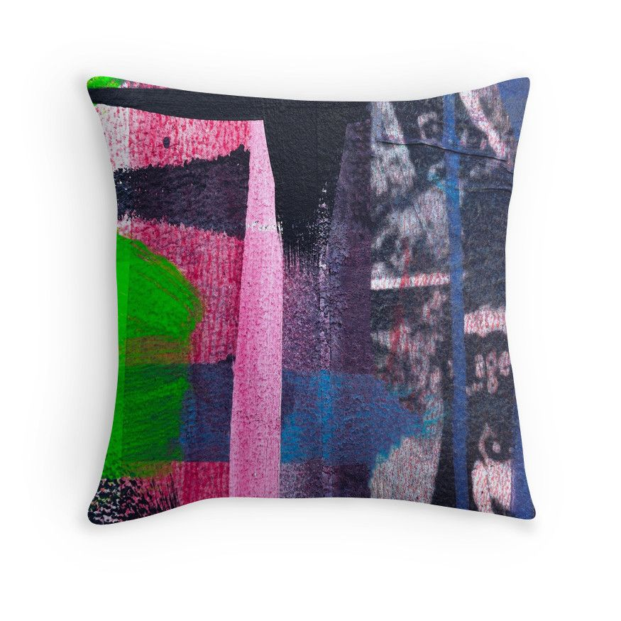 Cool graffiti grunge style details in pink green red and blue Fantastic color palette to decorate your room by +Marianne Campolongo #pillows #cushions #homedecor #graffiti @campyphotos