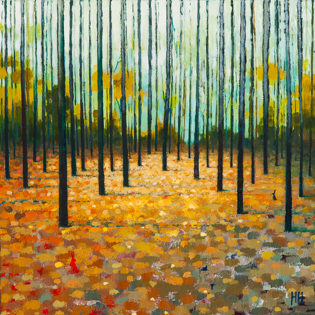 Abstract acrylic painting by Harriet Hue of Autumn Trees