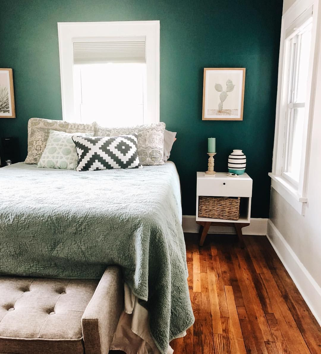 Home Design Color Ideas: Bedroom, Home Design , First House , Bed, Green, Wall, Paint
