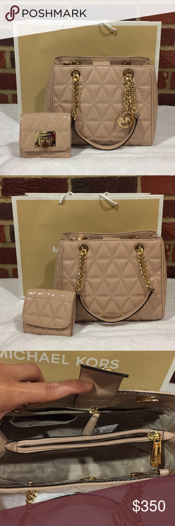 d282cf1143dc NWT Michael Kors Tote & Trifold Wallet Set NWT Michael Kors Susannah MD  Quilted Leather