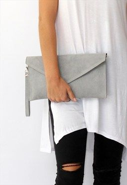 RESTOCKED Light Grey Suede Envelope Clutch Bag | UN peu 2 tout ...