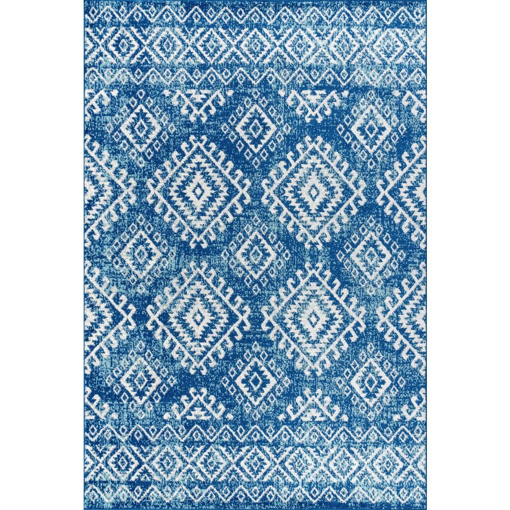 Jonathan Y Moroccan Hype Boho Vintage Tribal Blue White 8 Ft