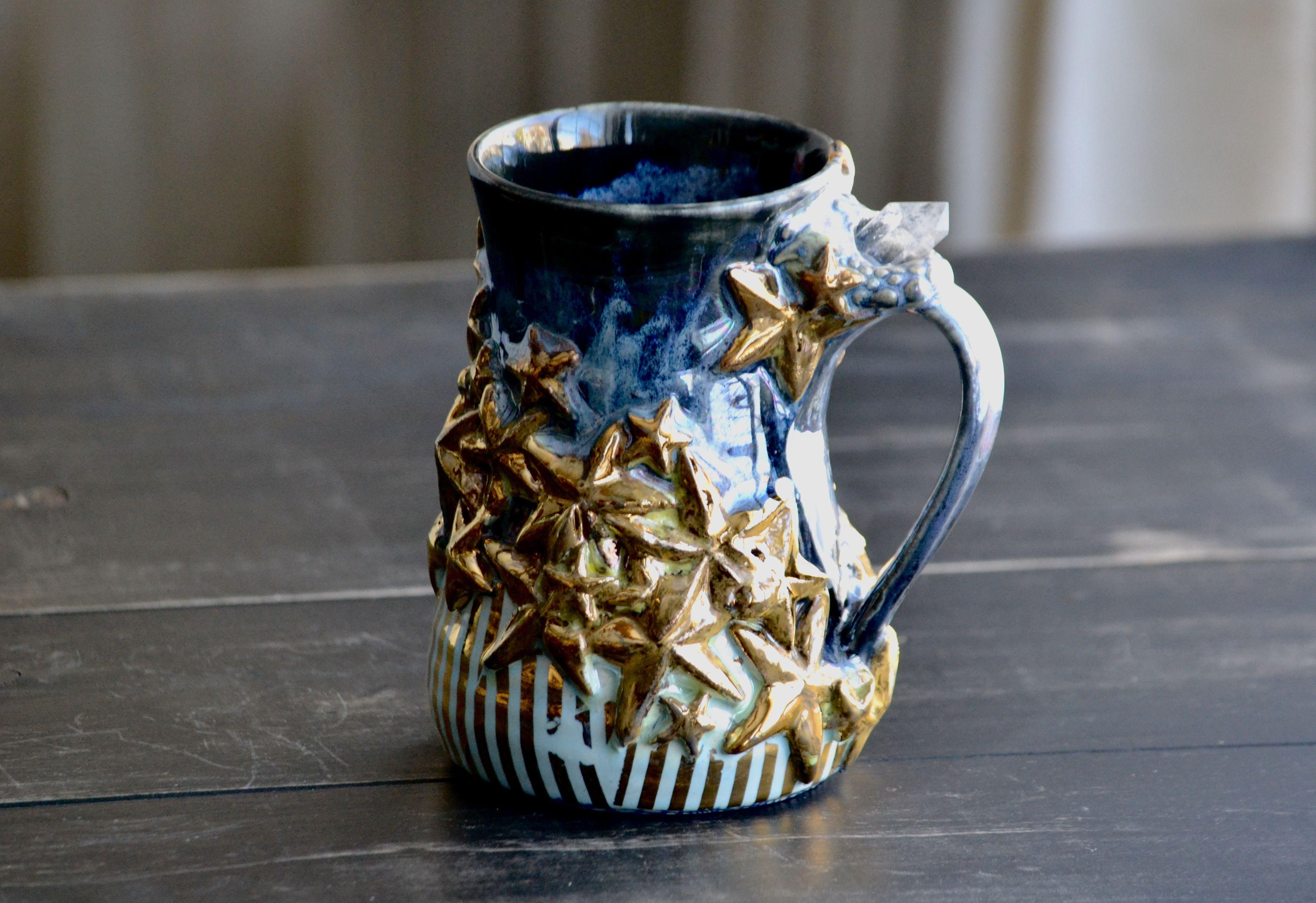 22K gold star mug with quartz crystal mug mugs pottery