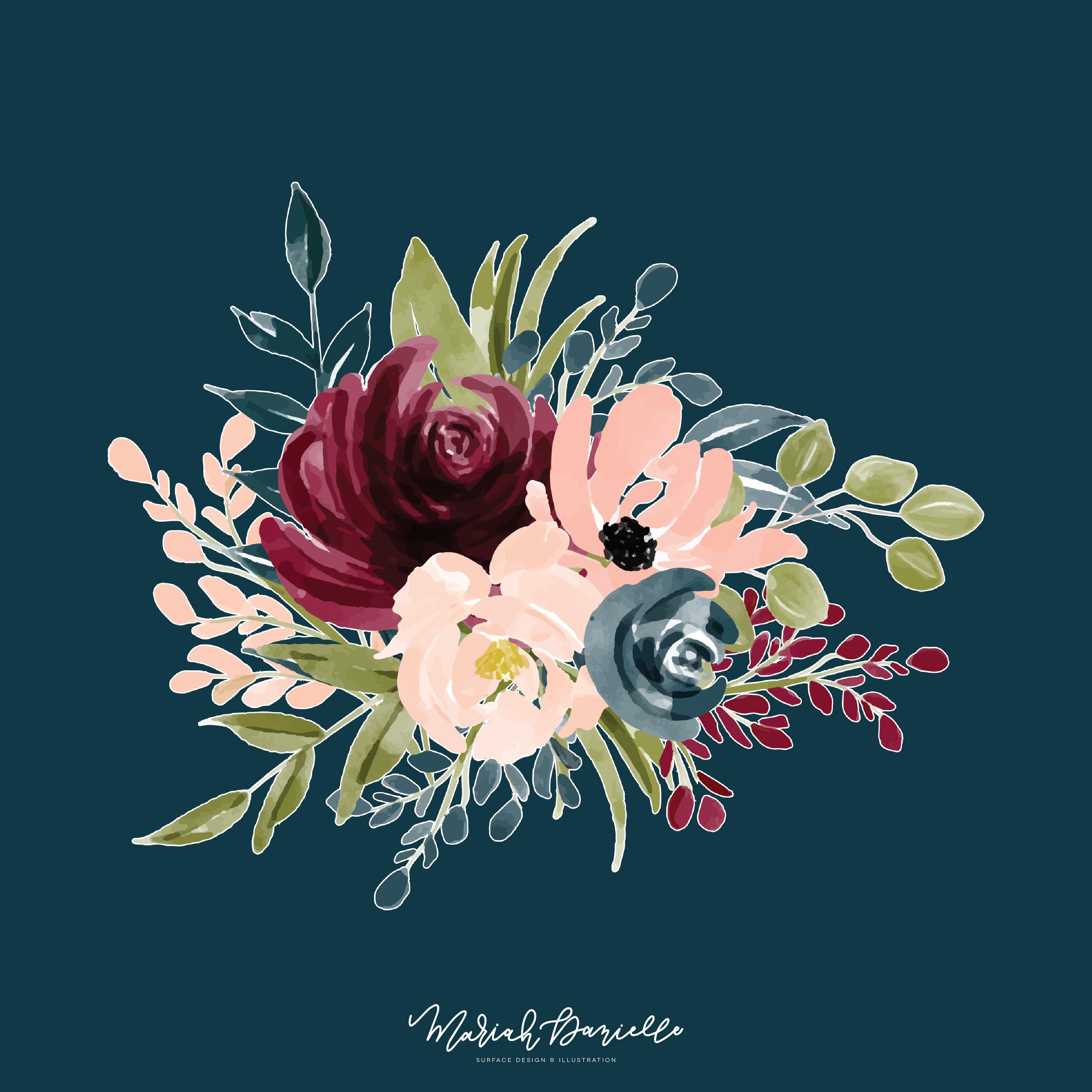 Burgundy & Navy Flower Clipart Set | Wedding clip art, Diy ...
