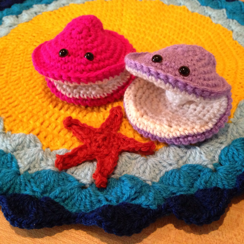 crochet clam and pearl shells | Amigurumis: animales marinos y ...