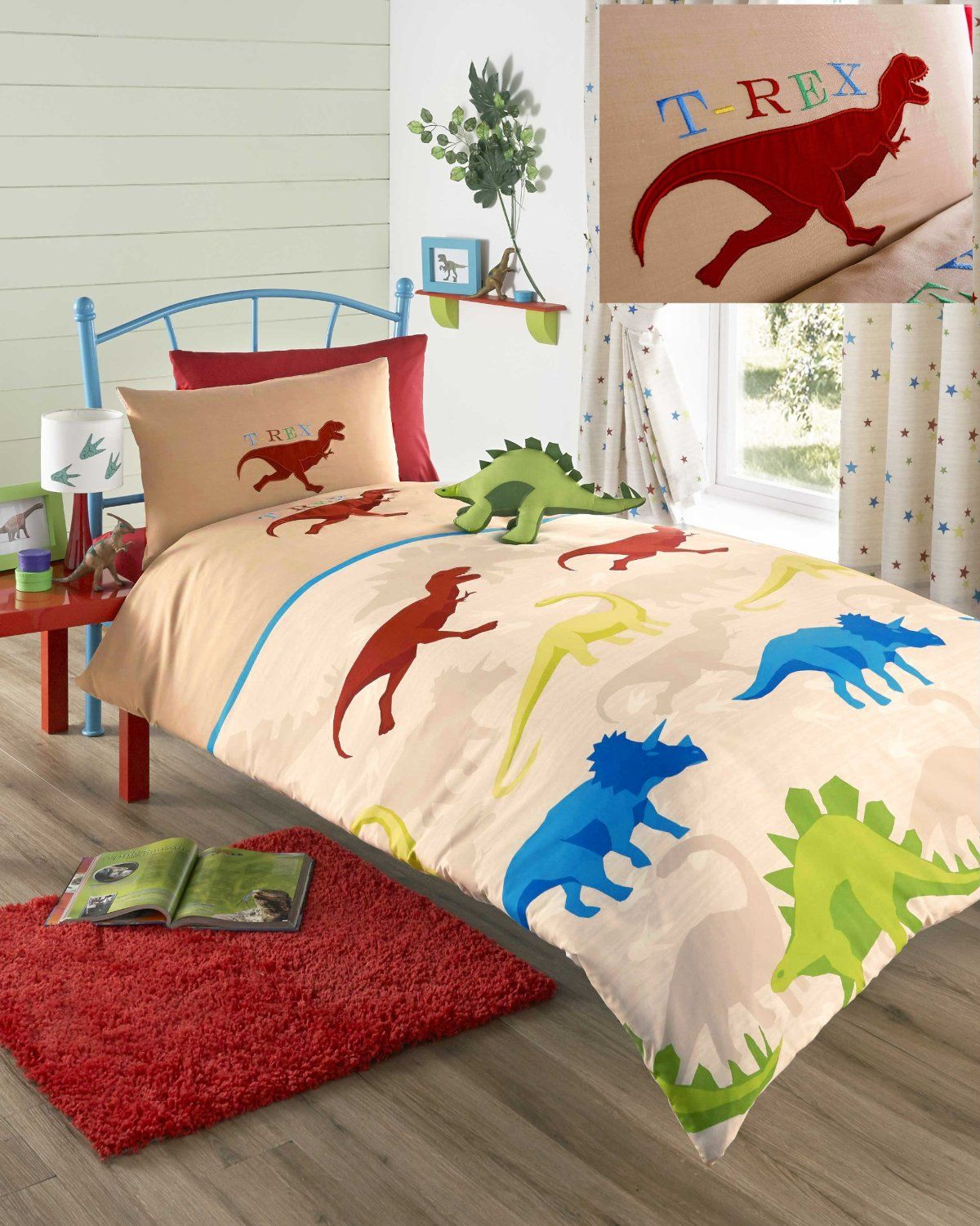 Boys Double Quilt Cover Beige Embroidered Dinosaur Boys Double Duvet Cover Bed Set Kids