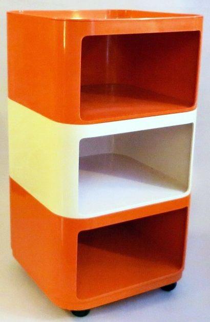 Table Basse Cube Empilable Plastique Orange Et Blanc Anna Castelli Ferrieri Kartell 1967 Mobilier De Salon Meuble Vintage Mobilier