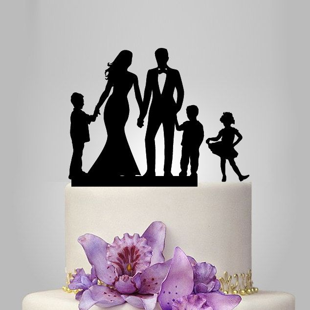 Family Wedding Cake Topper With 2 Boy And 1 Girl Bride Groom Silhouette