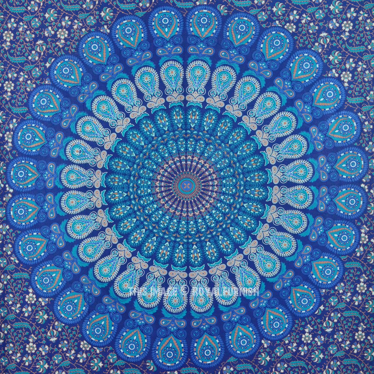 Blue multi elephants sun ombre mandala wall tapestry royalfurnish - Twin Indian Blue Hippie Mandala Tapestry Wall Hanging Boho Gypsy Decor Royalfurnish Com