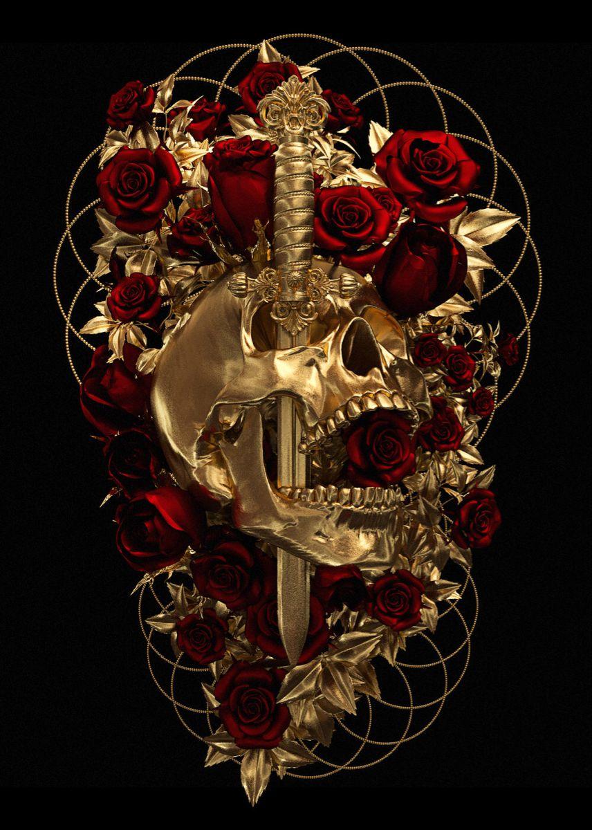 #roses#skull#deadinside#knife