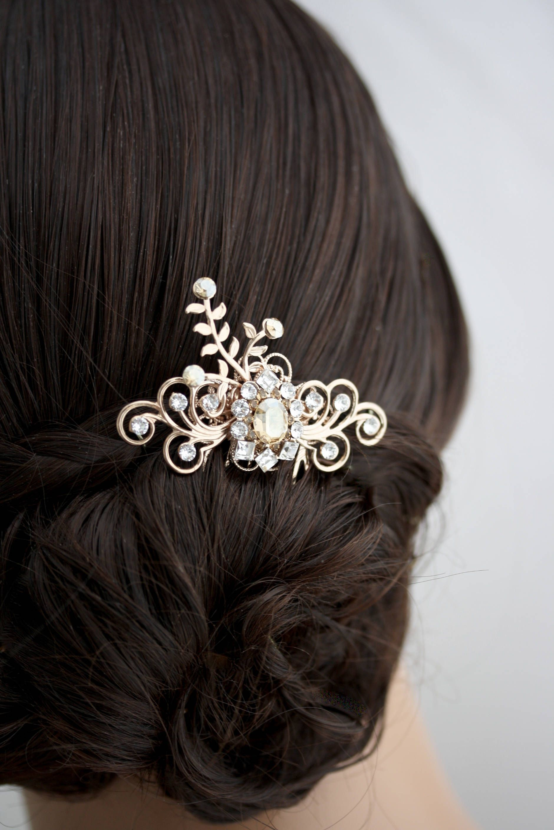 rose gold hair comb champagne bridal hair accessories small