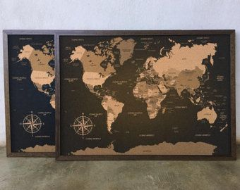Laser Cut World Map.Big Lasercut And Handmade Cork World Map Wall Art With Wood Bucket