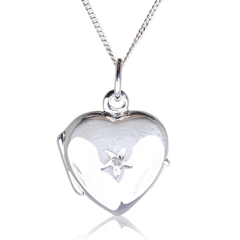 c5fded9d1995e Adele Real Sterling Silver Diamond Heart Locket Necklace | Warren ...