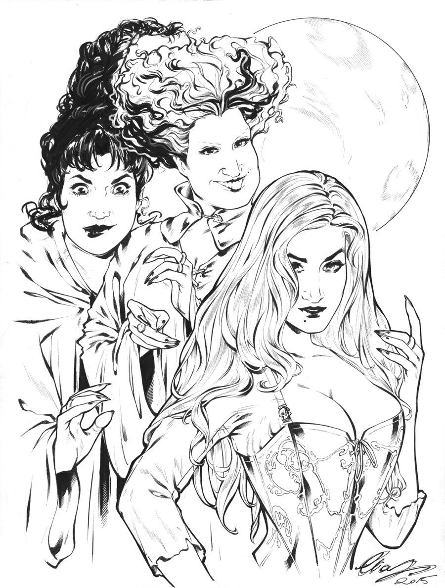 The Sanderson Sisters Witch Coloring Pages Halloween Coloring Pages Halloween Coloring