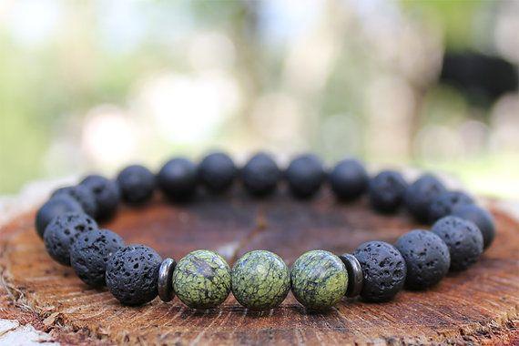Lava Rock and Onyx Grounding Bracelet