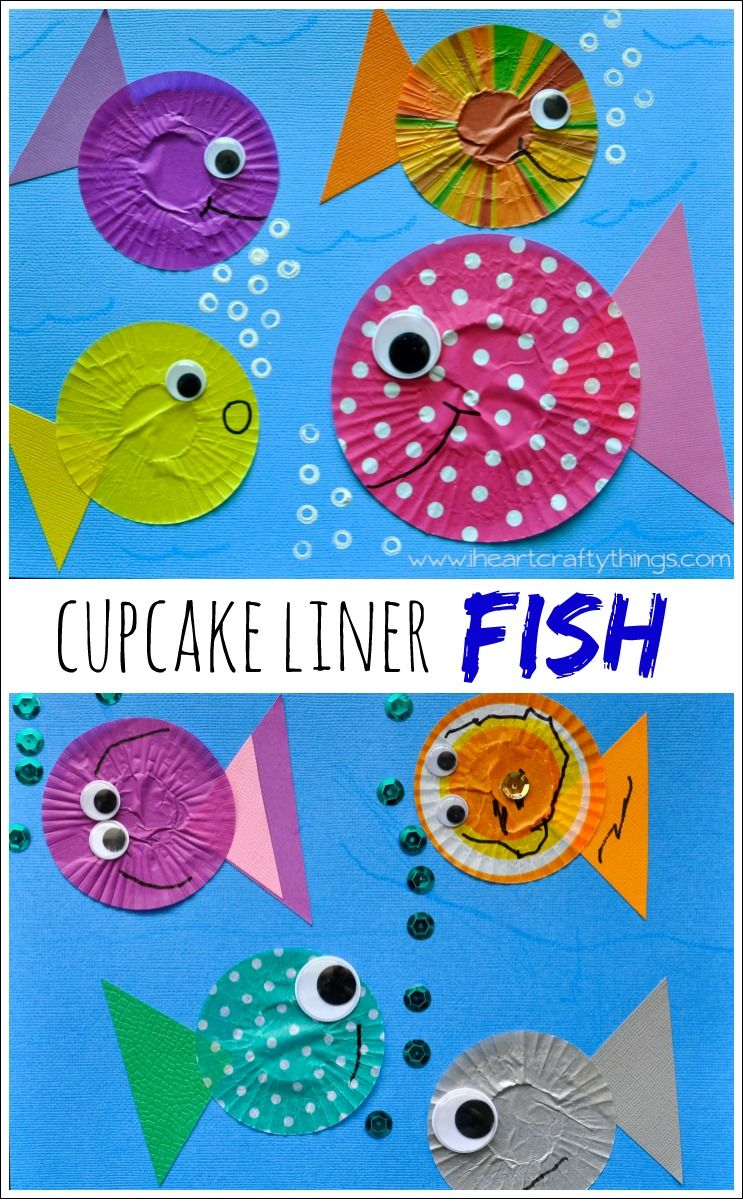 Fish kids craft out of cupcake liners seahorse crafts for Fish crafts for preschoolers