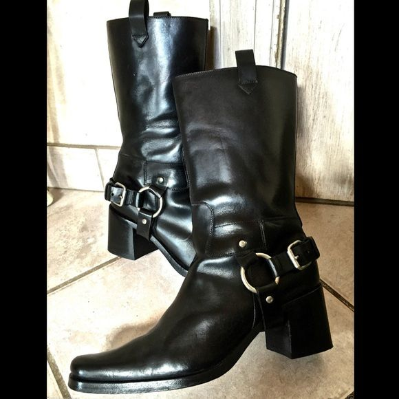 ed036a6f7892 PRADA black leather Moto Harness Boots 100% Authentic MIU MIU thick black  smooth leather pull on Moto   Riding Boots with pull tabs   pewter    leather ...