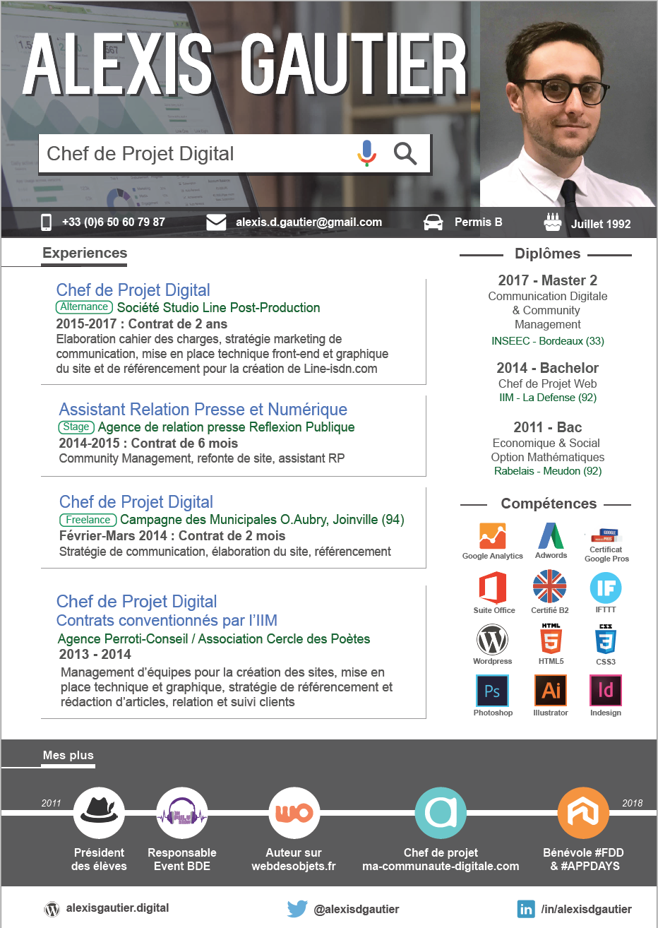 Étonnant Chef de Projet Digital Junior | Chef de projet digital, Cv digital XU-17