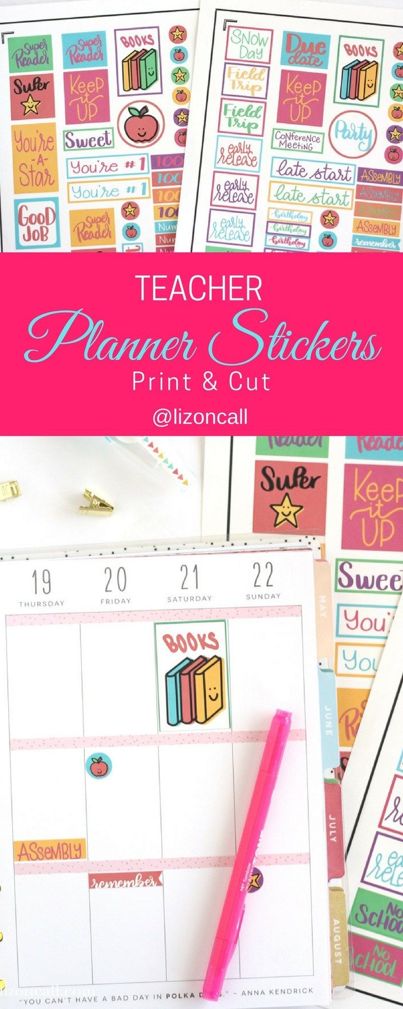Free Teacher Planner Stickers Print and Cut - Liz on Call #teacherplannerfree