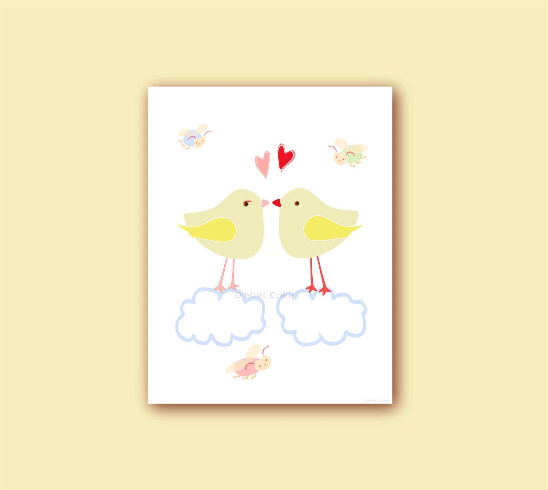 Love Birds Baby Girl Nursery Wall Art Kids Printable Childrens ...