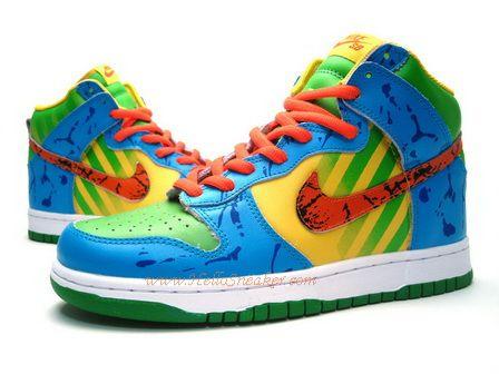 best sneakers 78b14 ea097 Nike Dunk High Custom Royal Orange Green Maise