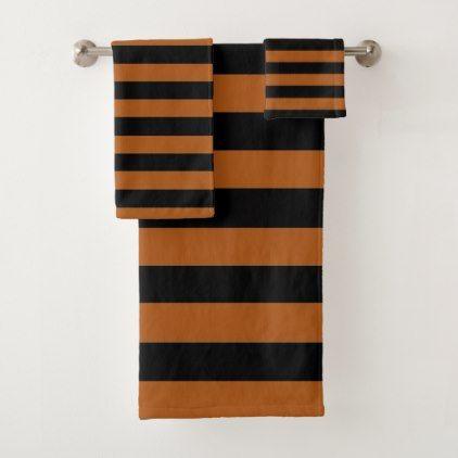 Halloween Stripes Bath Towel Set - halloween bathroom sets