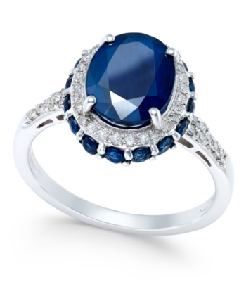 Macy S Blue Sapphire 4 Ct T W And White Sapphire 1 3 Ct T W Oval Ring In 10k White Gold Reviews Rings Jewelry Watches Macy S Sterling Silver Jewelry