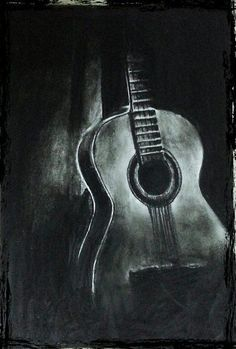 Guitar Charcoal Drawing Google Search Dessin Noir Et Blanc