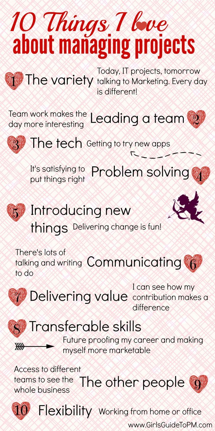 10 Things I Love About Managing Projects is part of Management infographic, Project management infographic, Project management tools, Project management, Business management degree, Change management - Sharing the ten things that I love about managing projects