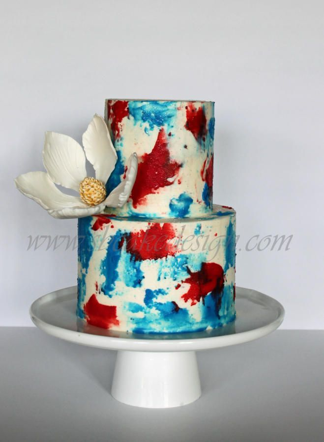 Red White And Blue Buttercream Blue Drip Cake
