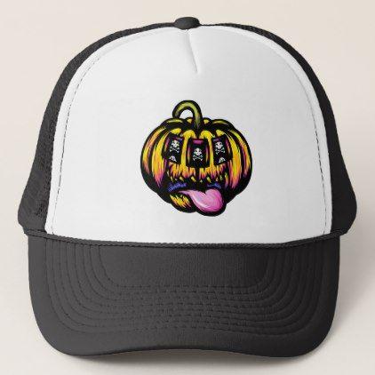 Pumpkin Face Halloween Trucker Hats Fashion Funny Cap
