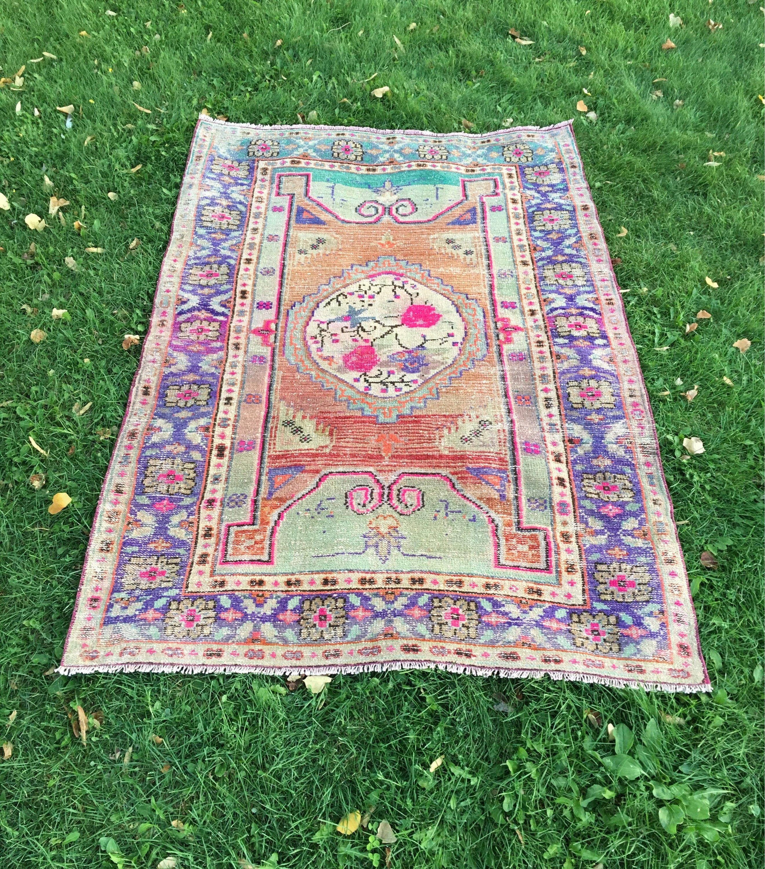 Vintage Turkish Handwoven Colorful Oushak Rug Wool Low Pile Distressed Boho Custom