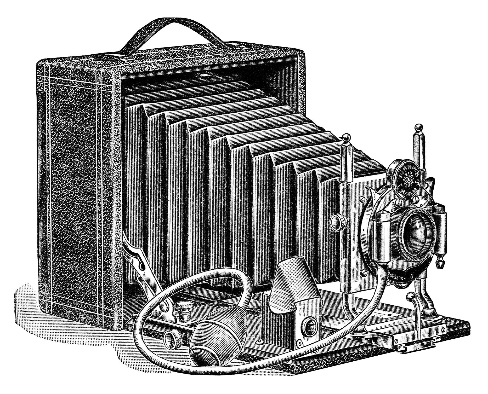Aged Paper Ephemera Old Fashioned Camera Image Black And White Clipart Antique Illustration Vintage Clip Art Seroco Ad