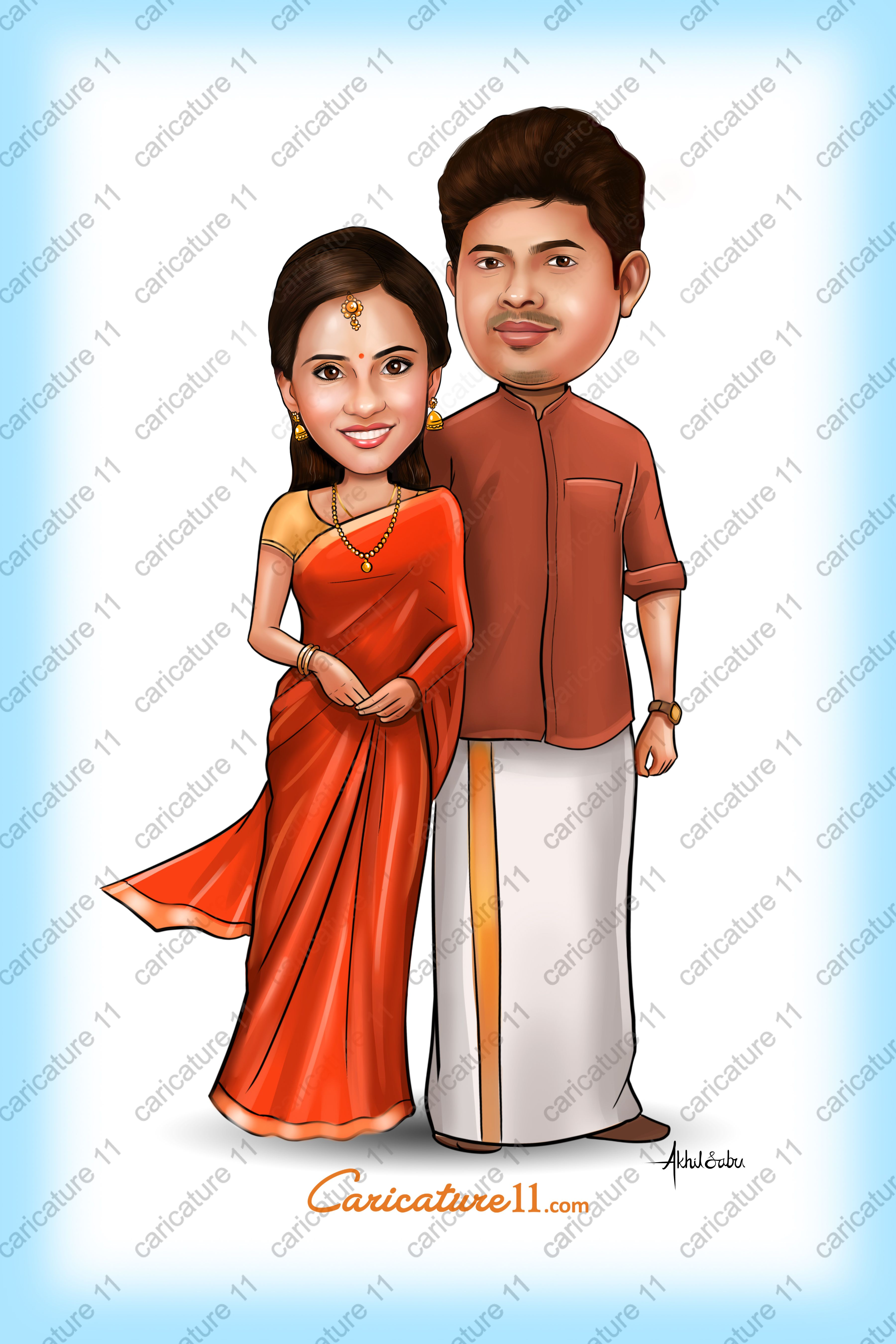 Wedding Caricature ,Invitation design ,Indian Wedding