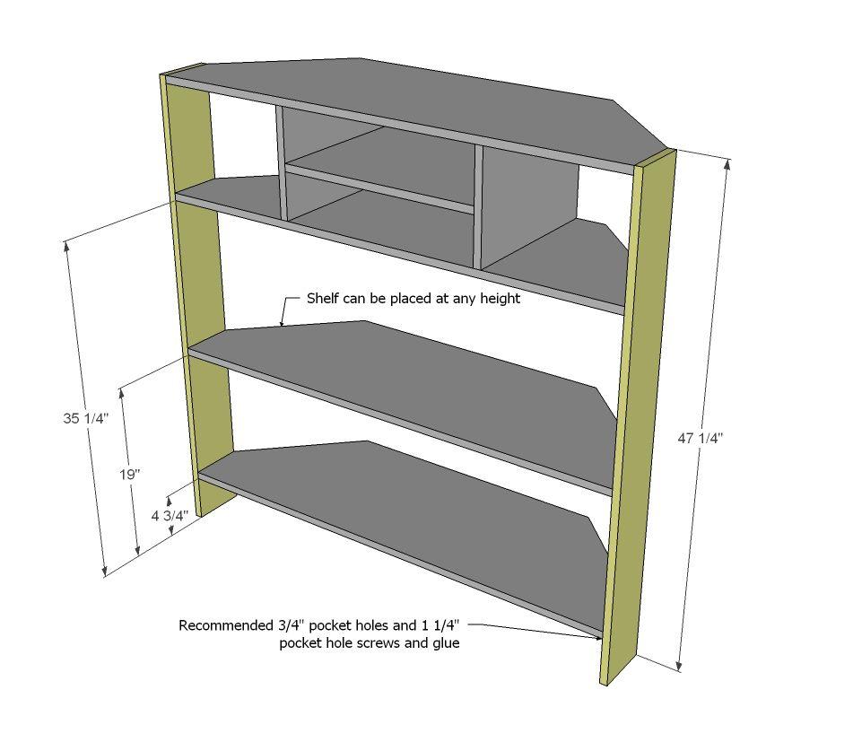 Tall Corner Media Console Tv Stand Plans Tall Corner Tv