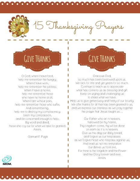 15 Thanksgiving Prayers
