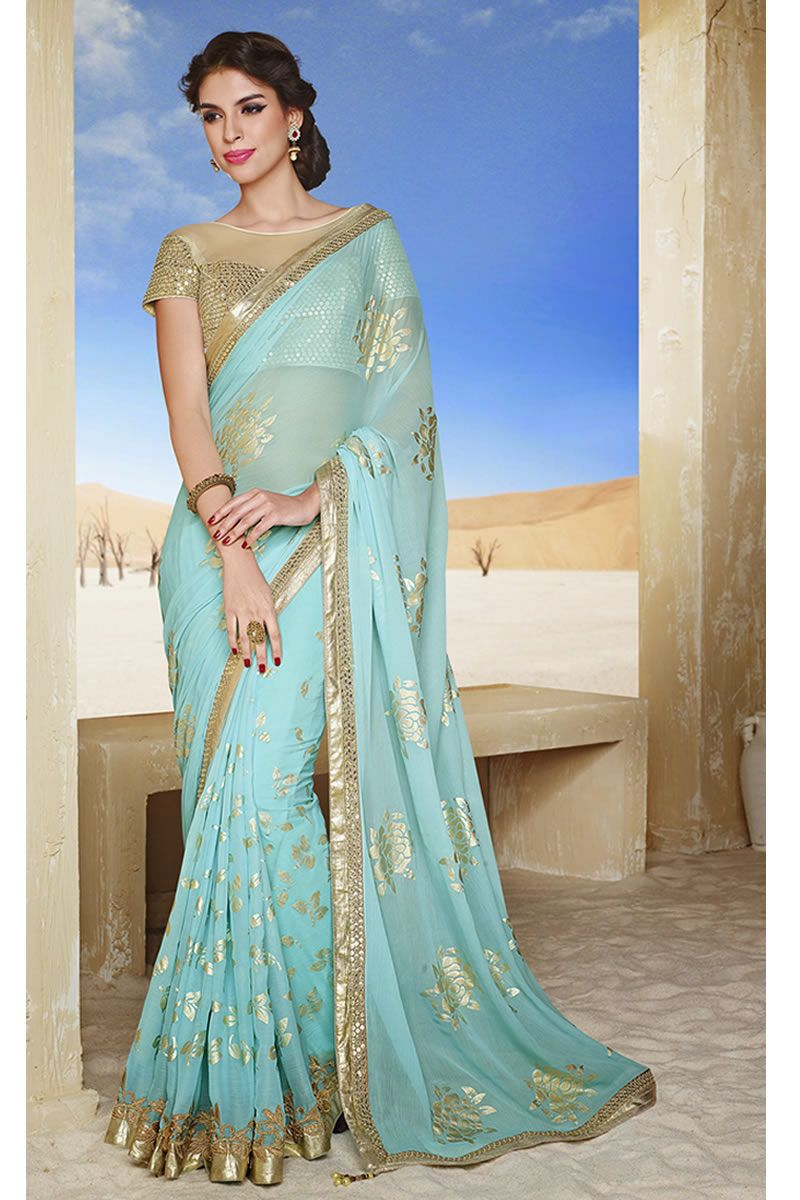 Sky Blue Latest Style Party Wear Saree With Blouse From Skysarees ...