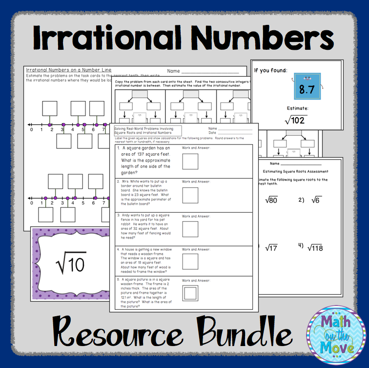 Irrational Numbers Bundle Notes, Worksheets and