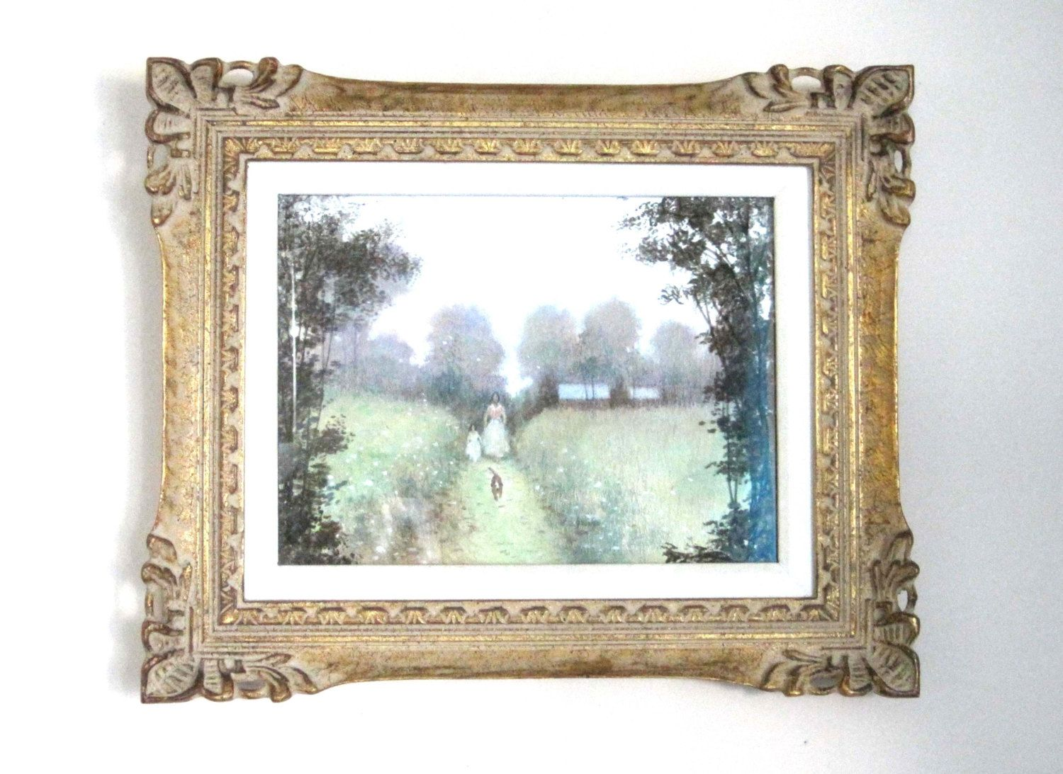 Original Pastel on Watercolor Paper, Mid Century Gold Ornate Frame ...