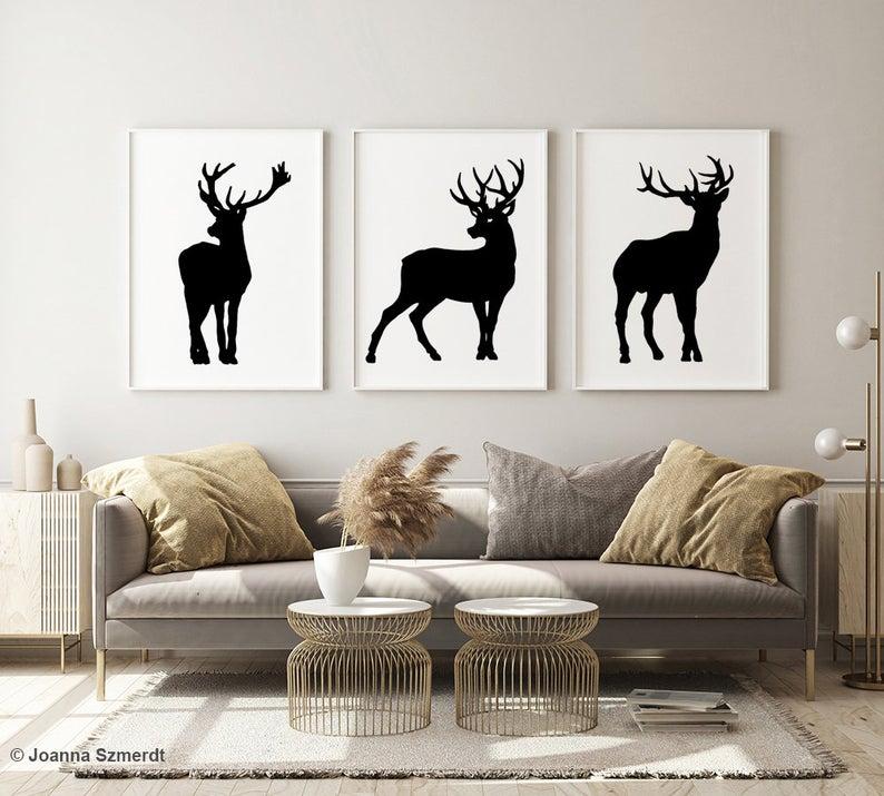 Deer Art Print Deer Painting Deer Wall Decor Black Deer Etsy In 2020 Deer Art Print Deer Painting Etsy Seller