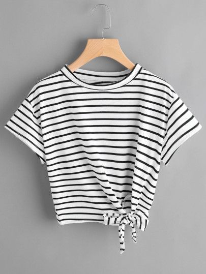 187670acc40e83 Camiseta de rayas con nudo lateral | MODA... | Fashion, Fashion ...