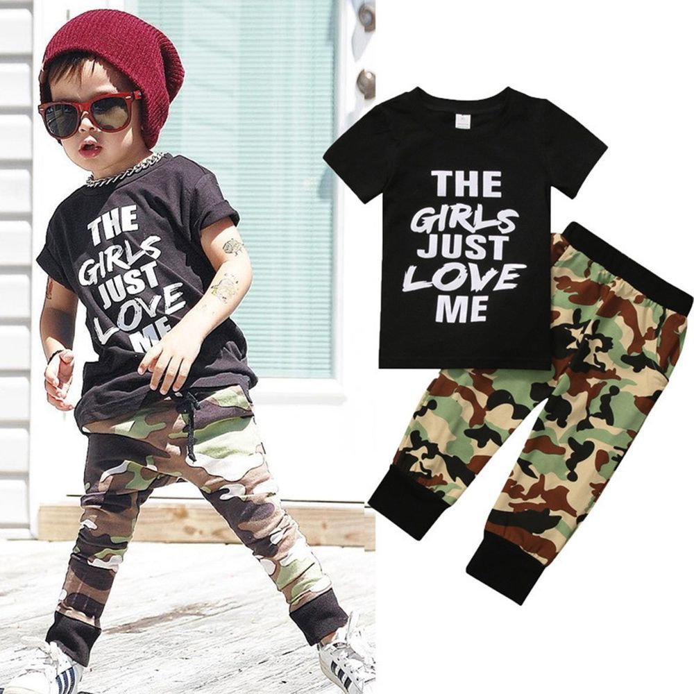 e37b5bfd4 2pcs Newborn Toddler Infant Kids Baby Boy Clothes T-shirt Tops+Pants Outfits  Set