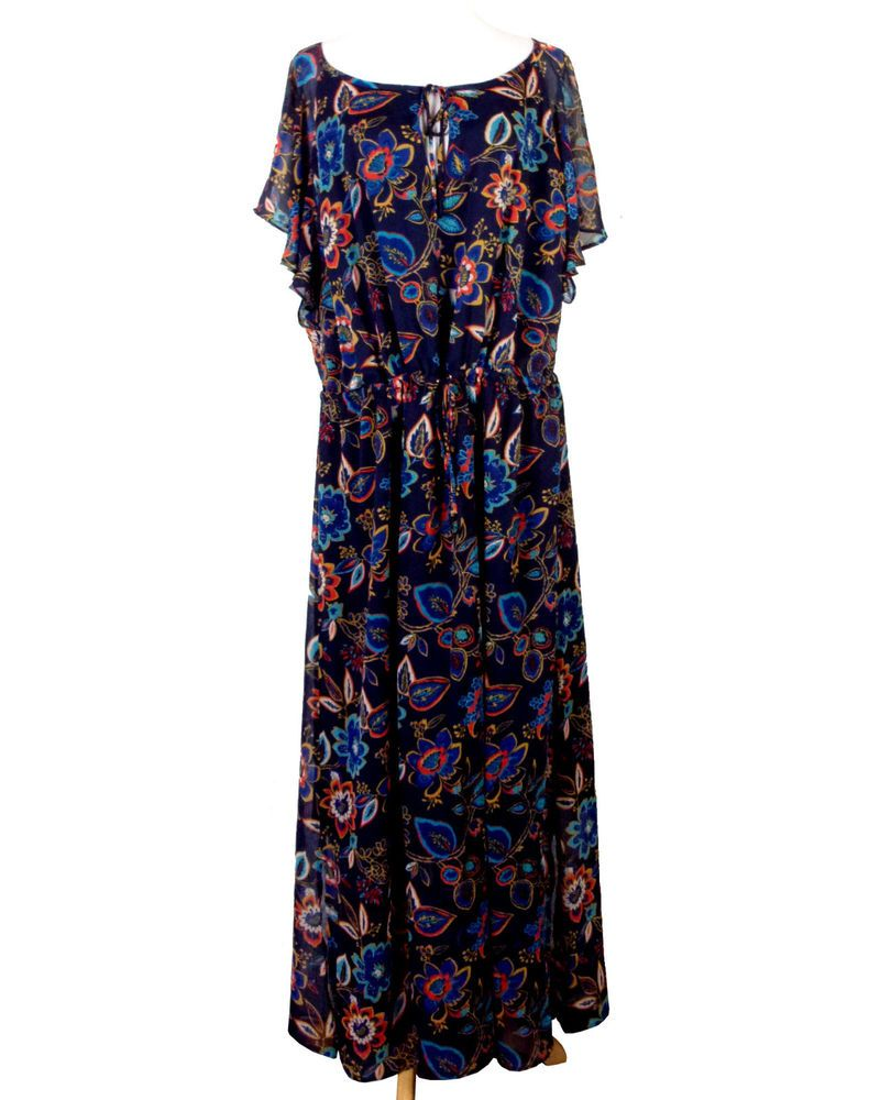 f829d458aa68b NWT new A New Day Navy Blue Colorful Floral Maxi Dress Hippy Boho plus size  3X  ANewDay  MaxiDress